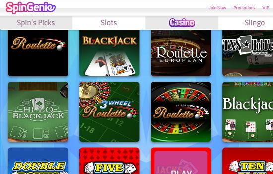 spin genie casino games